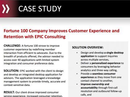 Fortune 100 Company Improves Customer Experience and Retention with EPIC Consulting