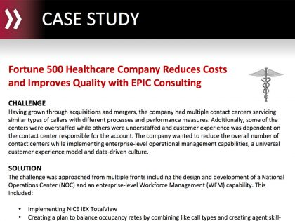 Fortune 500 Healthcare Company Reduces Costs and Improves Quality with EPIC Consulting