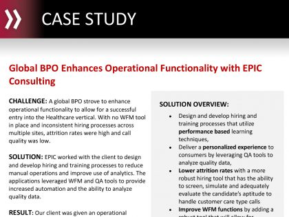 Global BPO Enhances Operational Functionality with EPIC Consulting